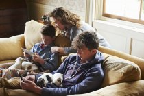 Brothers and sister using digital tablet and cell phone with puppies in laps — Stock Photo
