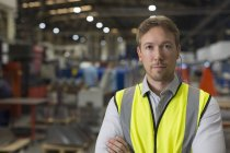 Portrait serious supervisor in steel factory — Stock Photo