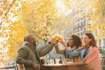 Smiling friends toasting beer glasses at autumn sidewalk cafe — Stockfoto