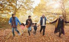 Família multi-geração brincalhão correndo no parque de outono — Fotografia de Stock