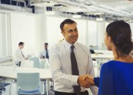 Businessman shaking hands with businesswoman in office — Stock Photo