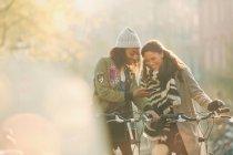 Молоді жінки друзі з велосипедами, дивлячись на стільниковий телефон на вулиці Сонячна осінь — стокове фото