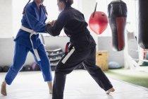 Donne che praticano judo in palestra insieme — Foto stock