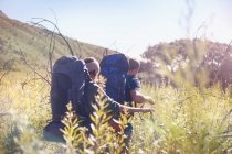 Young couple with backpacks hiking in sunny tall grass field — Stock Photo