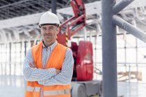 Portrait confident foreman at construction site — Stock Photo