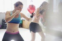 Entschlossene Boxerinnen im Schattenboxen im Fitnessstudio — Stockfoto