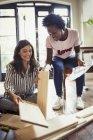 Women assembling furniture at home — Stock Photo