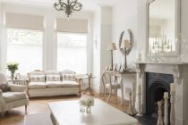 Luxus-Haus Vitrine innen Wohnzimmer mit Kamin — Stockfoto