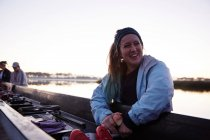 Portrait smiling, confident female rower at scull — Stock Photo