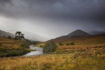 Спокійний ландшафт з потоку, Глен Strathfarrar, Шотландія — стокове фото