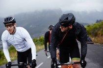 Друзі чоловіки велосипедиста їзда на велосипеді по дорозі — стокове фото