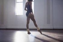Gracieuse ballerine femme jeune pratiquant en studio de danse — Photo de stock