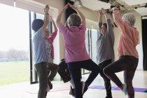 Donne anziane attive che esercitano, praticano yoga tree pose — Foto stock