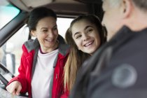 Family inside motor home — Stock Photo