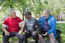 Amici anziani attivi che parlano sulla panchina del parco — Foto stock