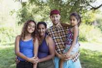 Portrait happy family at campsite — Stock Photo