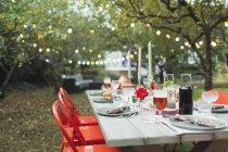 Dinner garden party table — Stock Photo