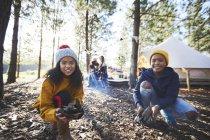Портрет счастливый брат и сестра играют в осенние листья в солнечном кемпинге в лесу — стоковое фото