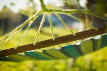 Close up hammock in sunny garden — Stock Photo