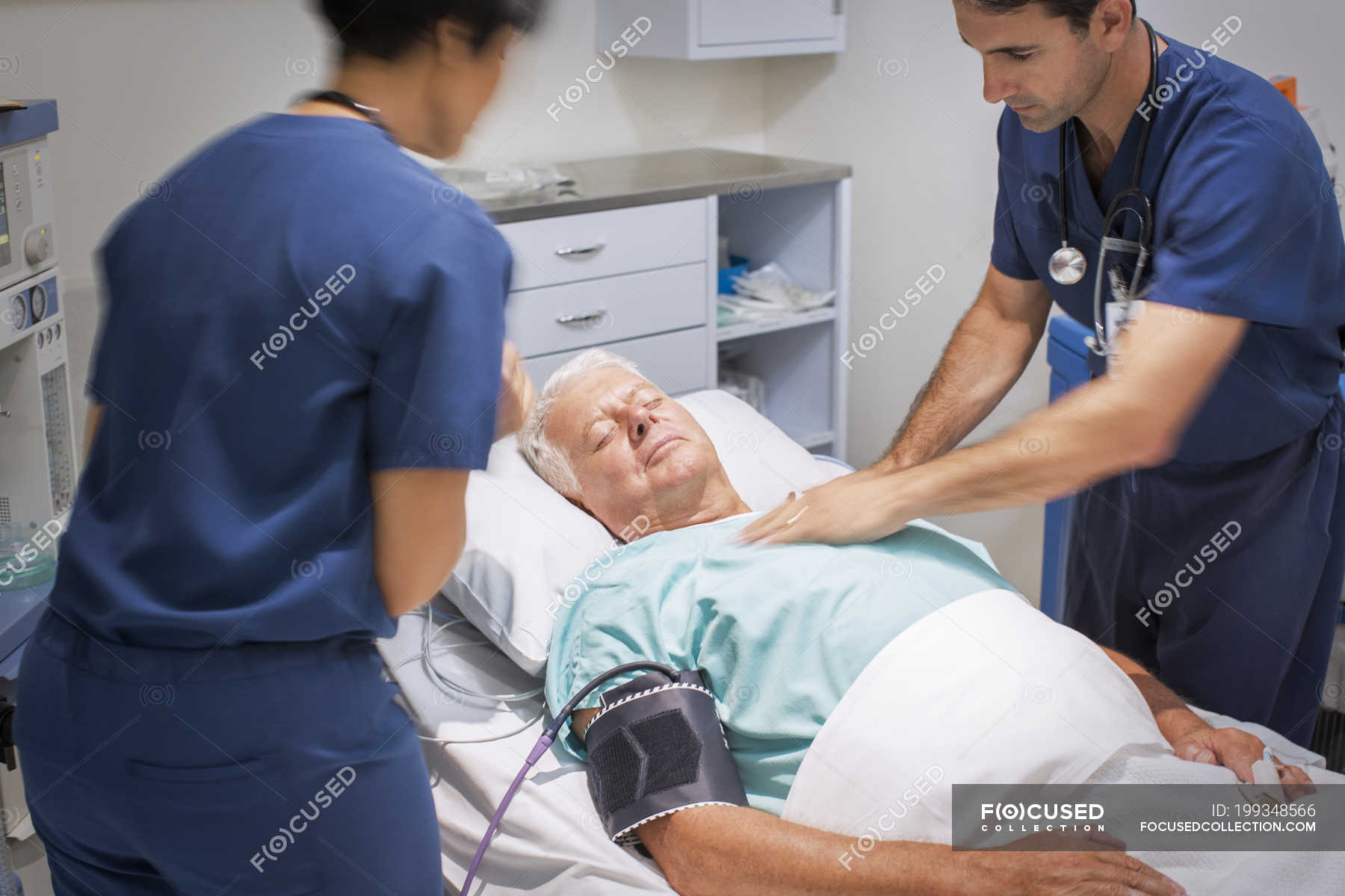 Doctor performing CPR on unconscious patient in emergency