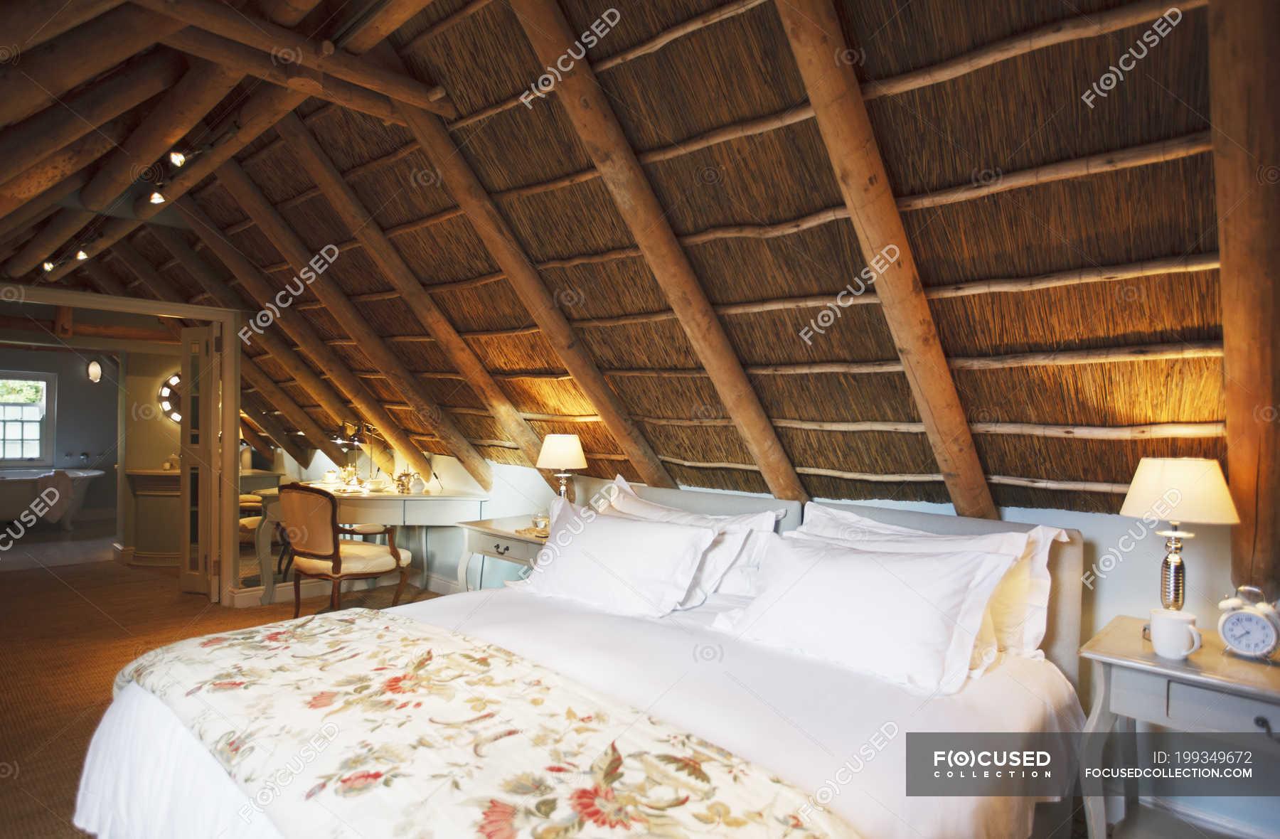 Luxury Attic Bedroom Under Wooden Roof Background Home Showcase Interior Stock Photo 199349672