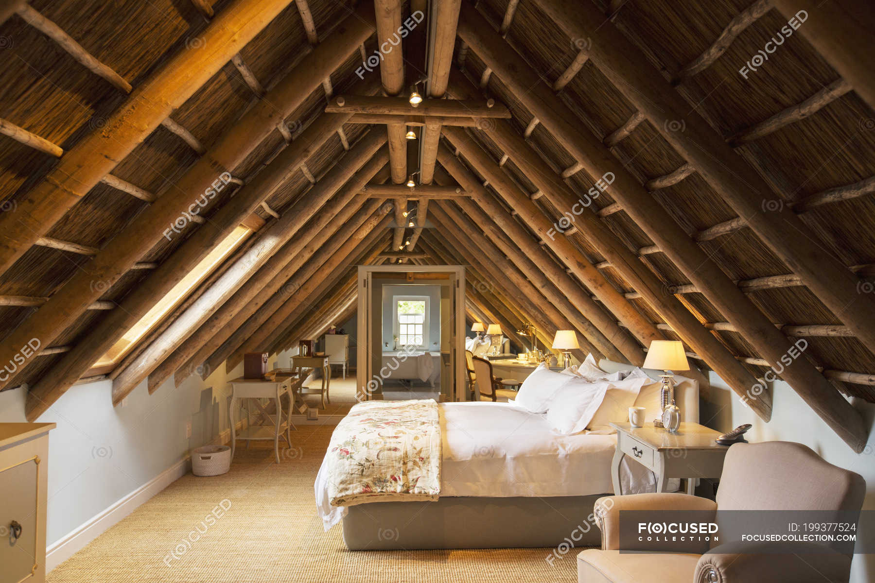 Luxury Attic Bedroom Under Wooden Roof Backdrop Interior Design Stock Photo 199377524