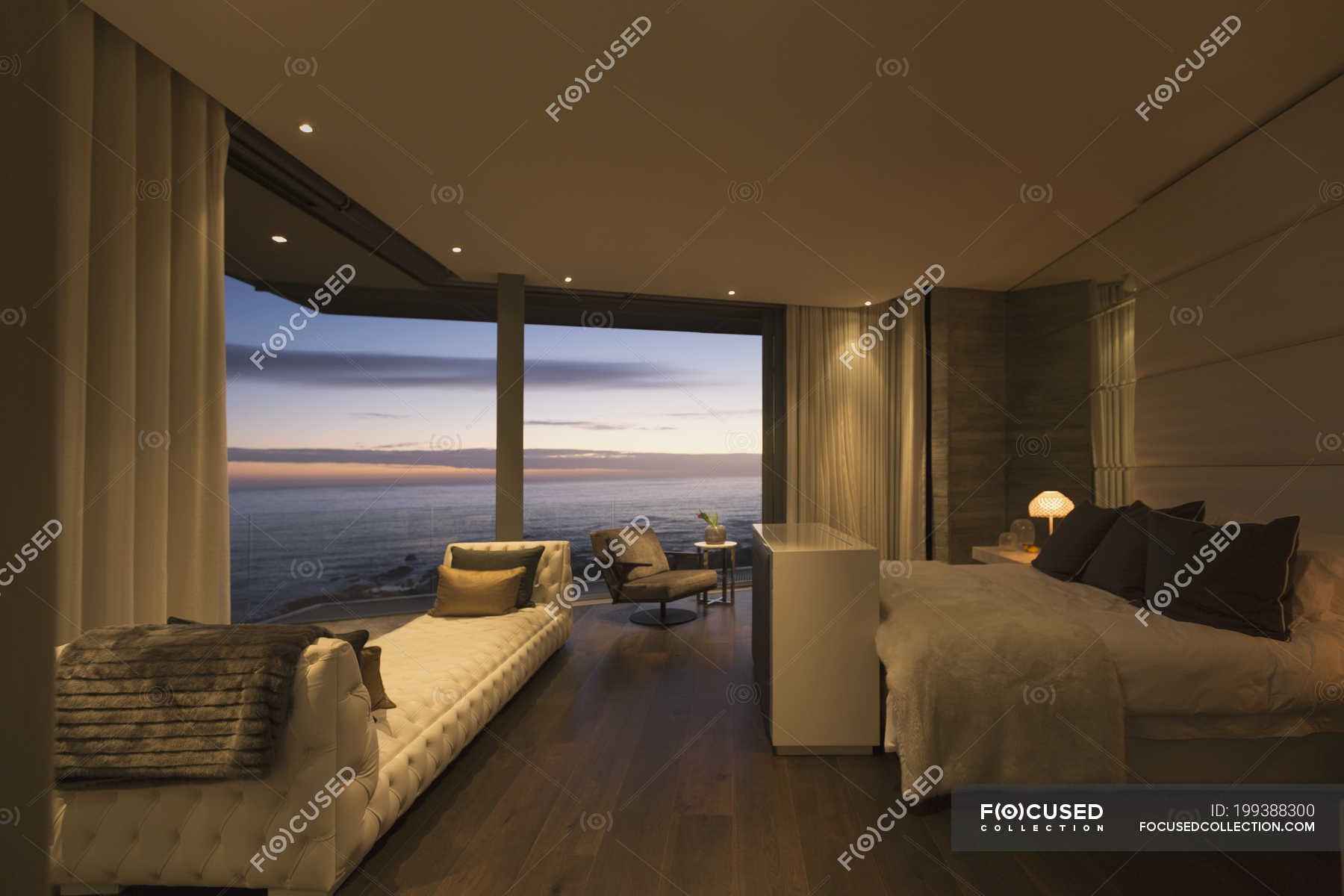 Twilight Ocean View Beyond Luxury Home Showcase Bedroom Tranquility Domestic Life Stock Photo 199388300