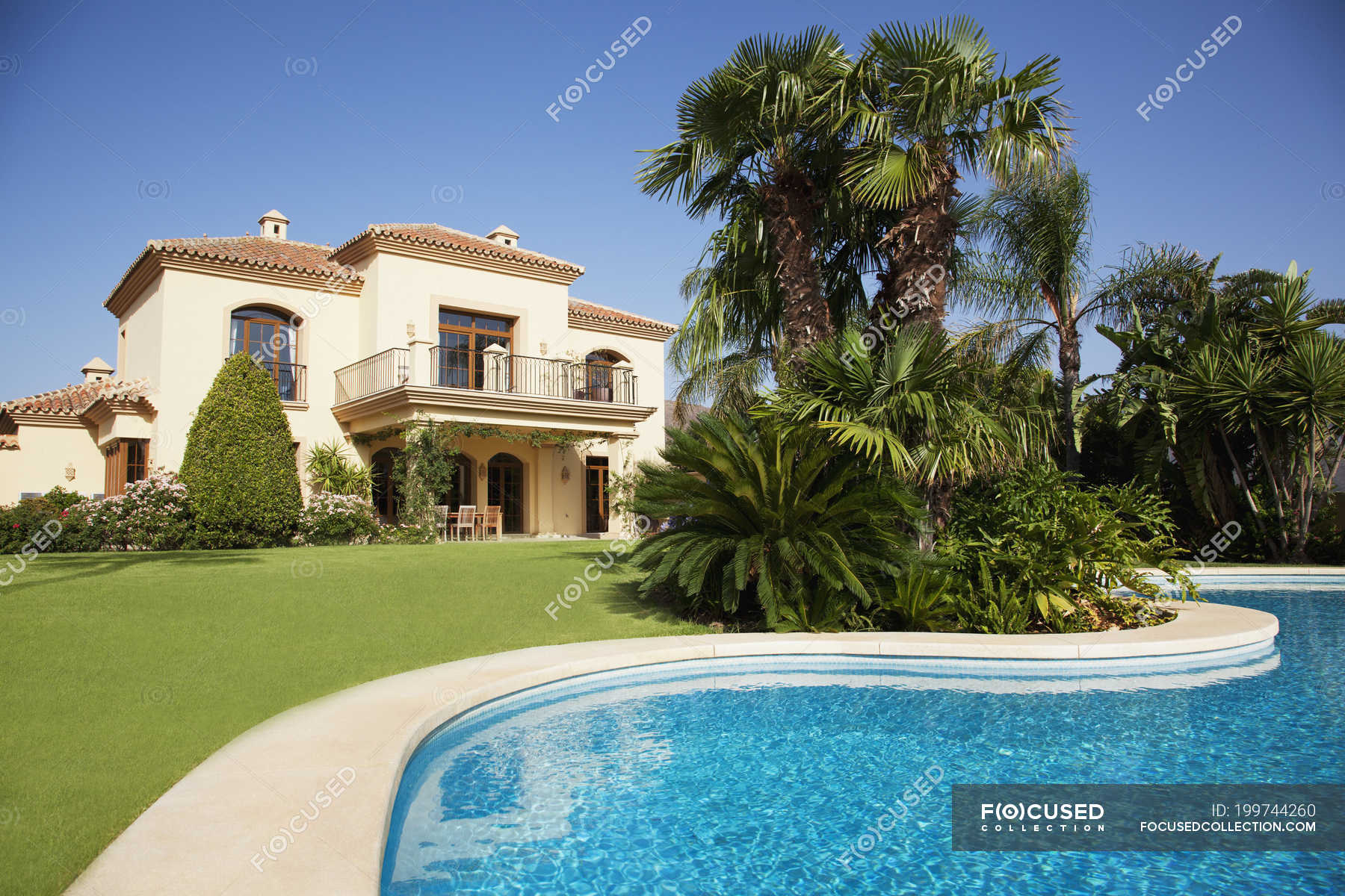 Swimming Pool And Spanish Villa Outdoors Architecture Stock Photo 199744260