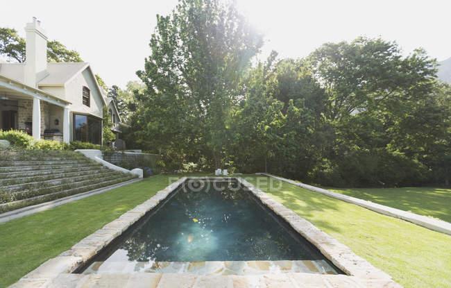 Pool gegen Bäume im modernen Luxus-Haus — Stockfoto