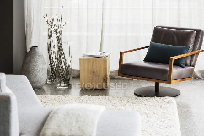 Luxury interior of modern house, living room — Stock Photo