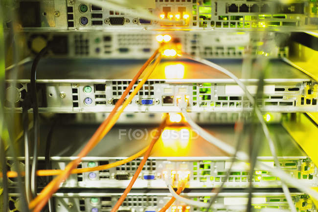 Close up server room cables — Stock Photo