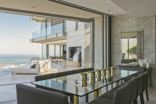 Luxury Modern Home Showcase Dining Room With Ocean View U2014 Stock Photo