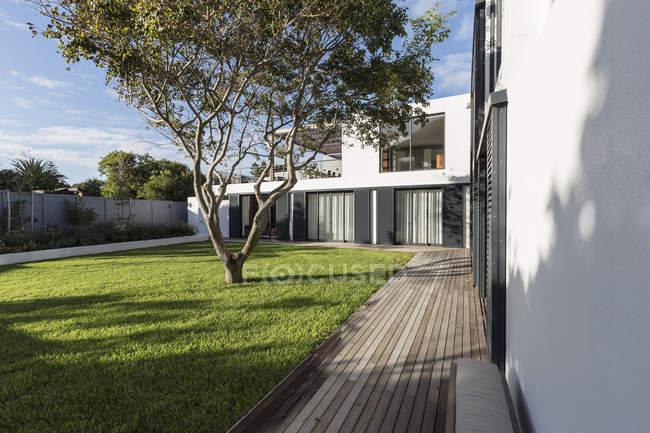 Sonnige moderne, Luxus home Schaufenster äußeren Hof mit Baum — Stockfoto