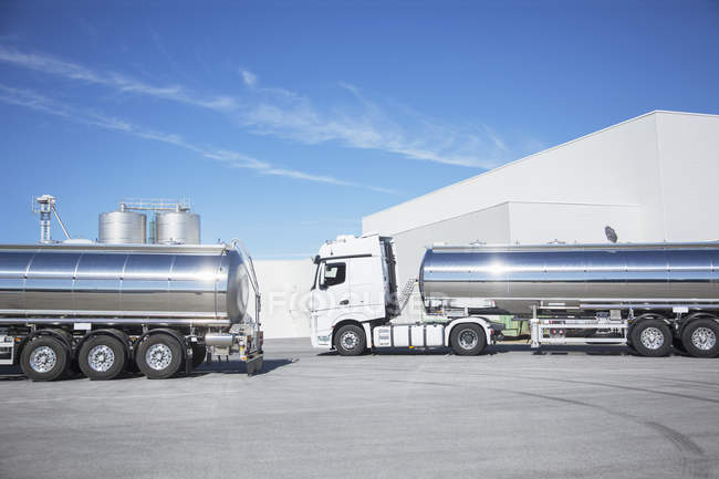 Stainless steel milk tankers parked — Stock Photo