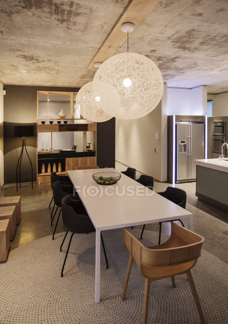 Luxury interior of modern house, dining room — Stock Photo