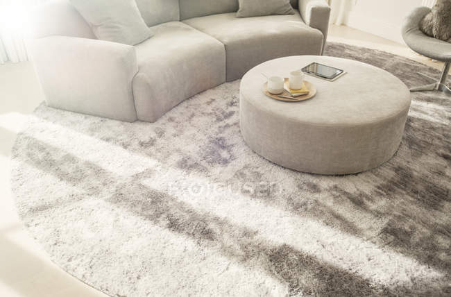 Round rug under curved sofa and ottoman in living room — Stock Photo
