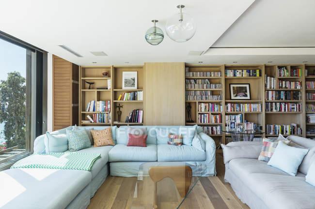 Interior of Sunny living room — Stock Photo