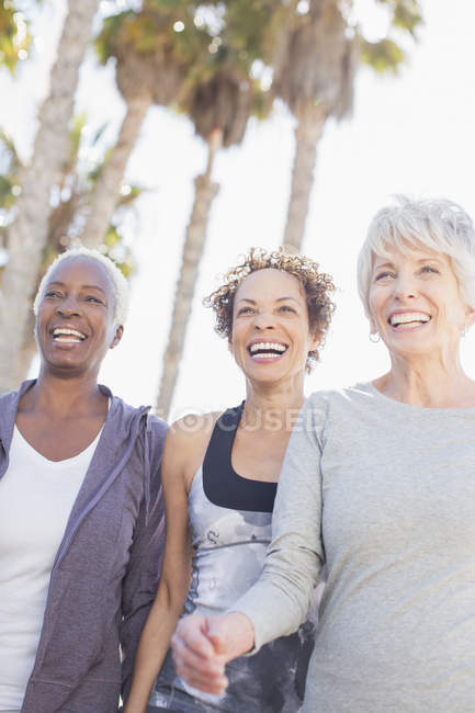 Senior women power walking outdoors — Stock Photo
