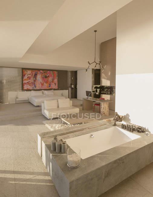 Moderne, Luxus-Haus präsentieren tränkenden Wanne Badewanne ...