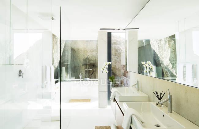 Раковини і ванну кімнату з сучасною ванною кімнатою — стокове фото