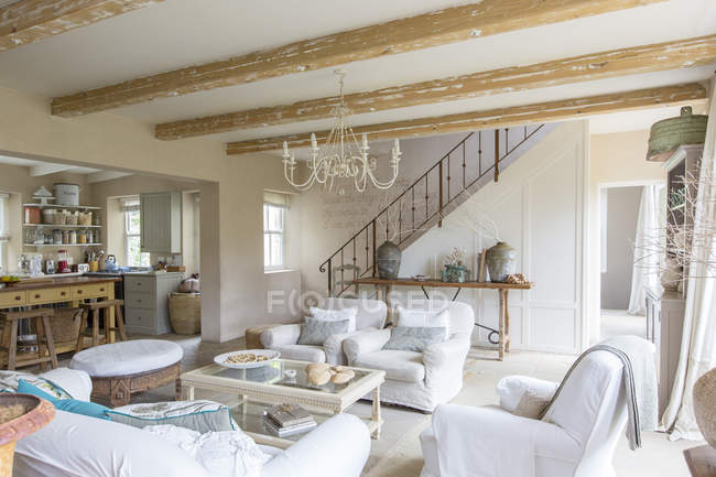 Living room of rustic house — Stock Photo