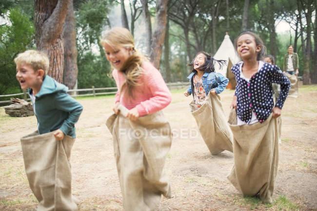 Дети бегают в мешках в поле — стоковое фото