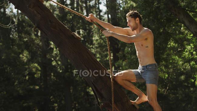 Joven sosteniendo cuerda columpio en árbol - foto de stock