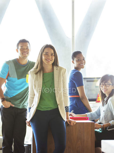 Portrait of casual business people in office — Stock Photo