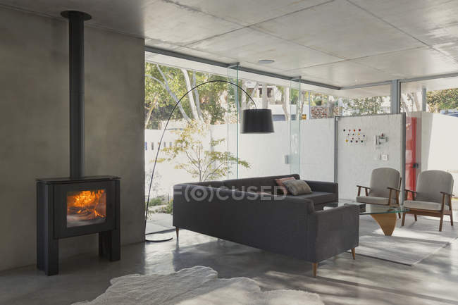 Home showcase interior living room with wood burning fireplace — Stock Photo