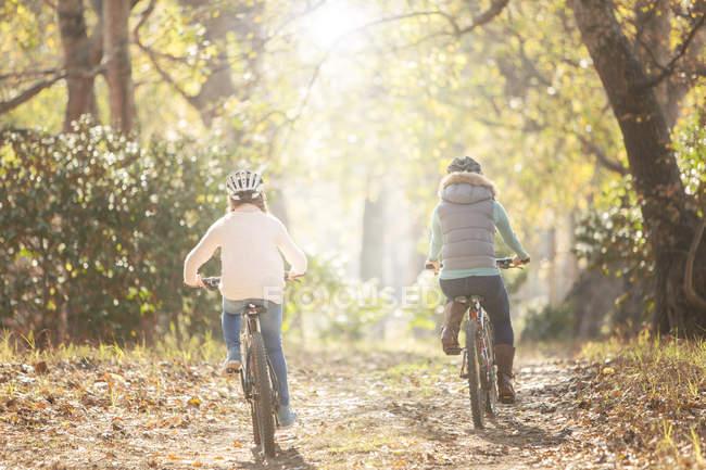 Mère et fille vélo sur le chemin en bois — Photo de stock
