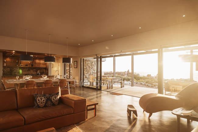 Sunny home showcase interior living room — Stock Photo