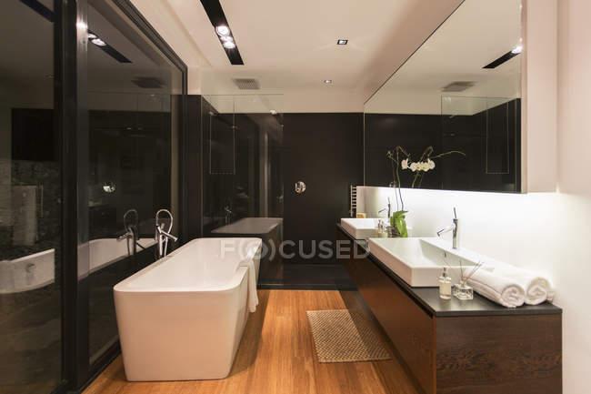 Vasca Da Bagno E Lavandino : Vasca da bagno e lavandini in bagno moderno u2014 sullo sfondo al