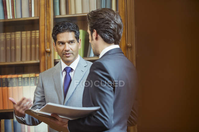 Lawyers talking in chambers — Stock Photo