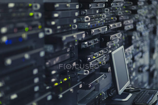 Computer and server room rack panel — Stock Photo